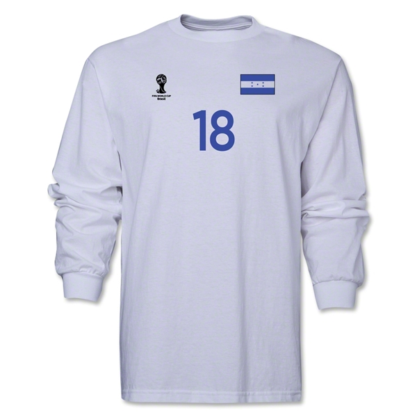 Honduras 2014 FIFA World Cup Brazil(TM) Men's LS Number 18 T-Shirt (White)