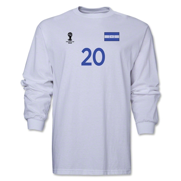 Honduras 2014 FIFA World Cup Brazil(TM) Men's LS Number 20 T-Shirt (White)