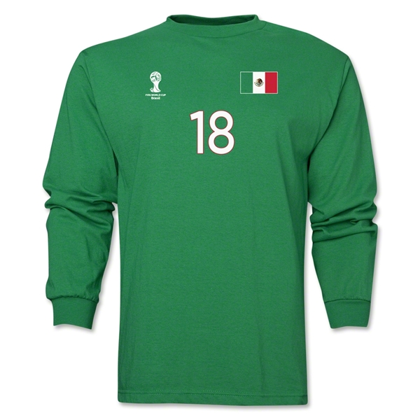 Mexico 2014 FIFA World Cup Brazil(TM) Men's LS Number 18 T-Shirt (Green)
