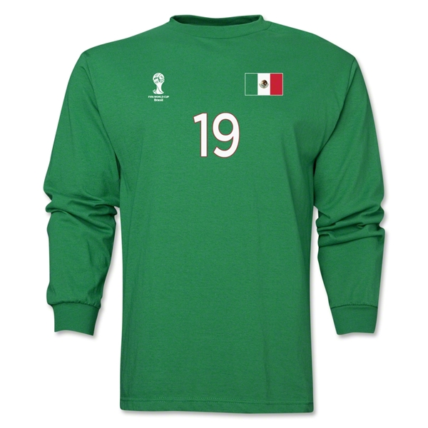 Mexico 2014 FIFA World Cup Brazil(TM) Men's LS Number 19 T-Shirt (Green)