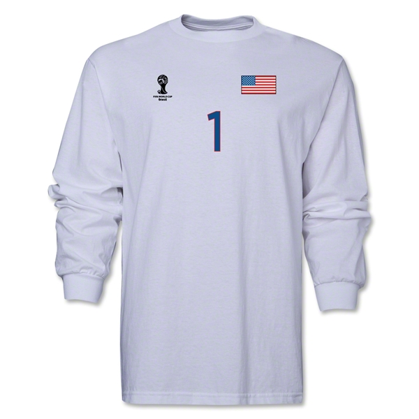 USA 2014 FIFA World Cup Brazil(TM) Men's LS Number 1 T-Shirt (White)