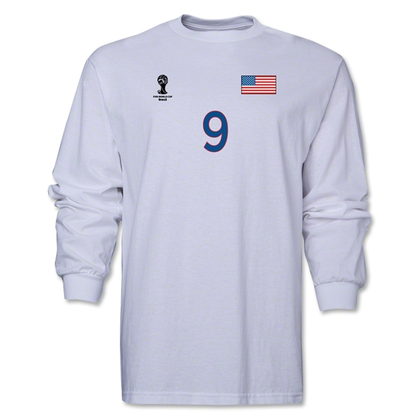 USA 2014 FIFA World Cup Brazil(TM) Men's LS Number 9 T-Shirt (White)