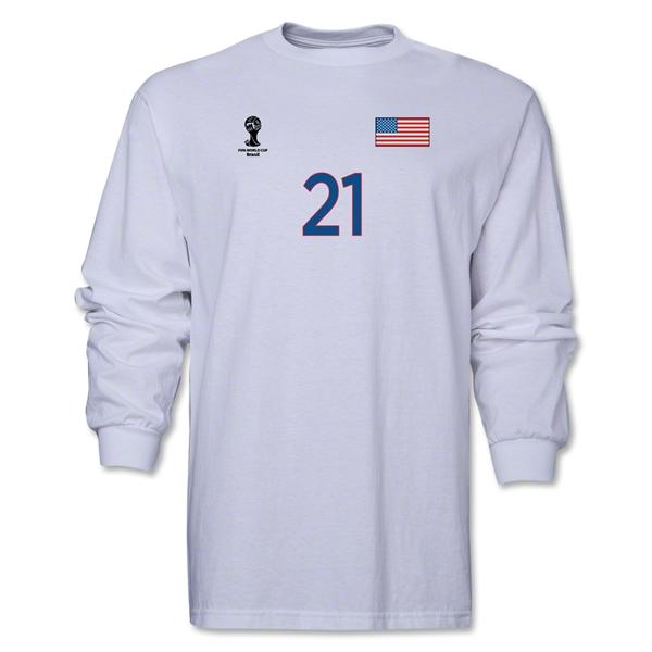 USA 2014 FIFA World Cup Brazil(TM) Men's LS Number 21 T-Shirt (White)