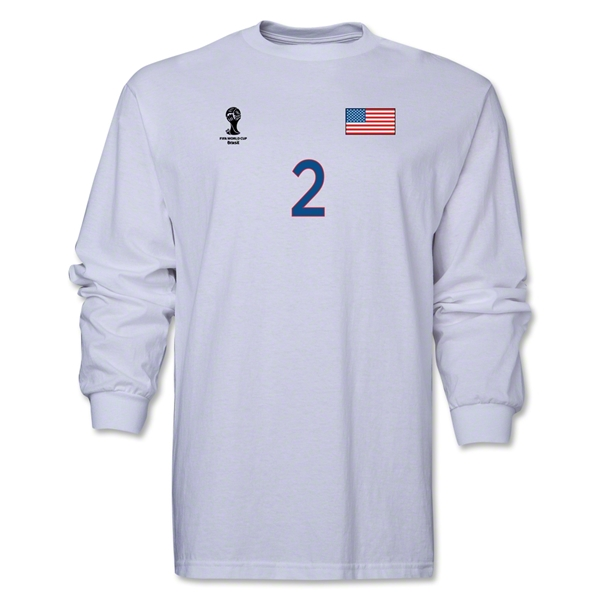 USA 2014 FIFA World Cup Brazil(TM) Men's LS Number 2 T-Shirt (White)