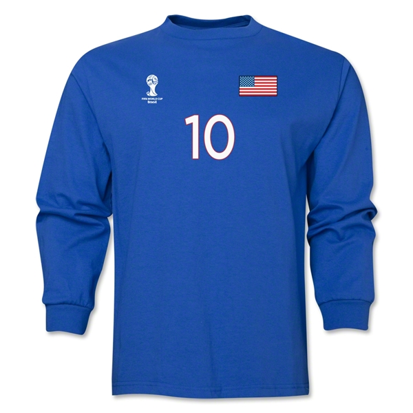 USA 2014 FIFA World Cup Brazil(TM) Men's LS Number 10 T-Shirt (Royal)