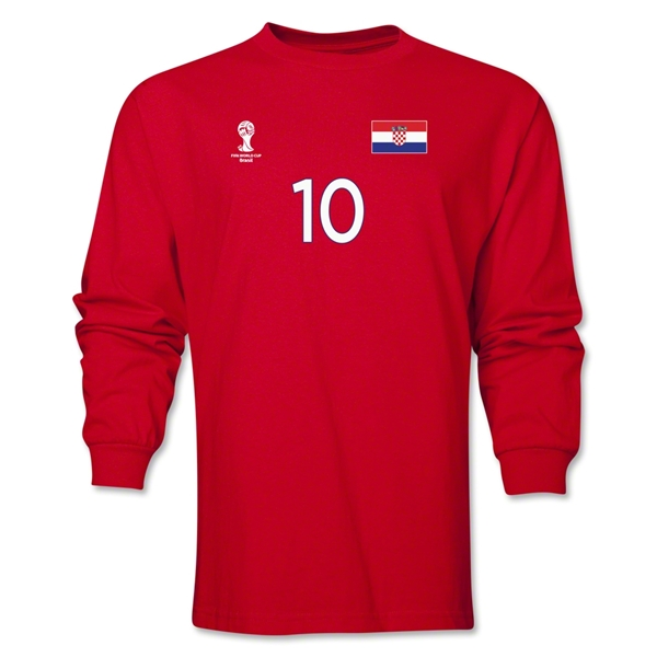 Croatia 2014 FIFA World Cup Brazil(TM) Men's LS Number 10 T-Shirt (Red)