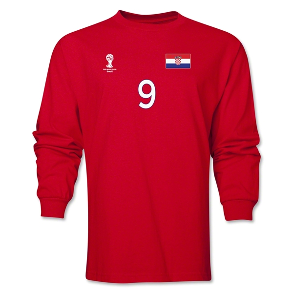 Croatia 2014 FIFA World Cup Brazil(TM) Men's LS Number 9 T-Shirt (Red)