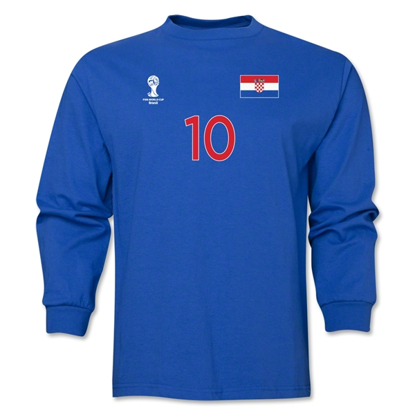 Croatia 2014 FIFA World Cup Brazil(TM) Men's LS Number 10 T-Shirt (Royal)