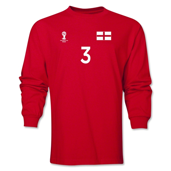 England 2014 FIFA World Cup Brazil(TM) Men's LS Number 3 T-Shirt (Red)