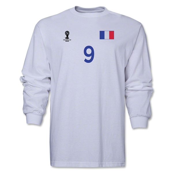 France 2014 FIFA World Cup Brazil(TM) Men's LS Number 9 T-Shirt (White)