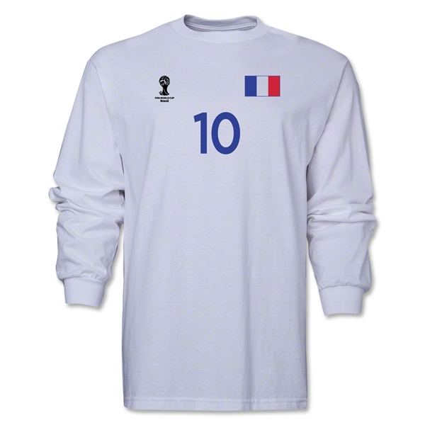 France 2014 FIFA World Cup Brazil(TM) Men's LS Number 10 T-Shirt (White)