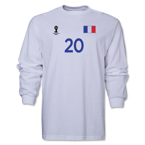France 2014 FIFA World Cup Brazil(TM) Men's LS Number 20 T-Shirt (White)