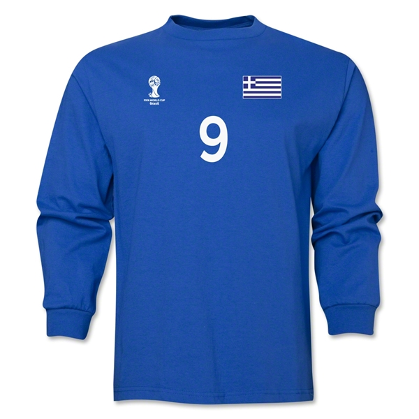 Greece 2014 FIFA World Cup Brazil(TM) Men's LS Number 9 T-Shirt (Royal)