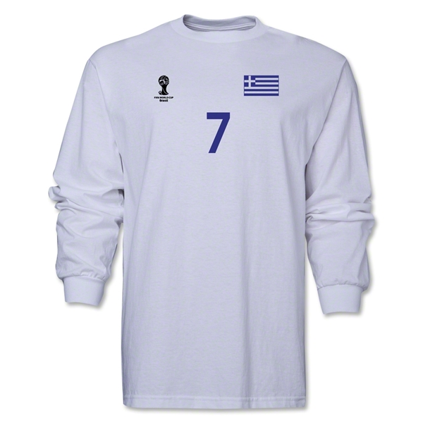 Greece 2014 FIFA World Cup Brazil(TM) Men's LS Number 7 T-Shirt (White)