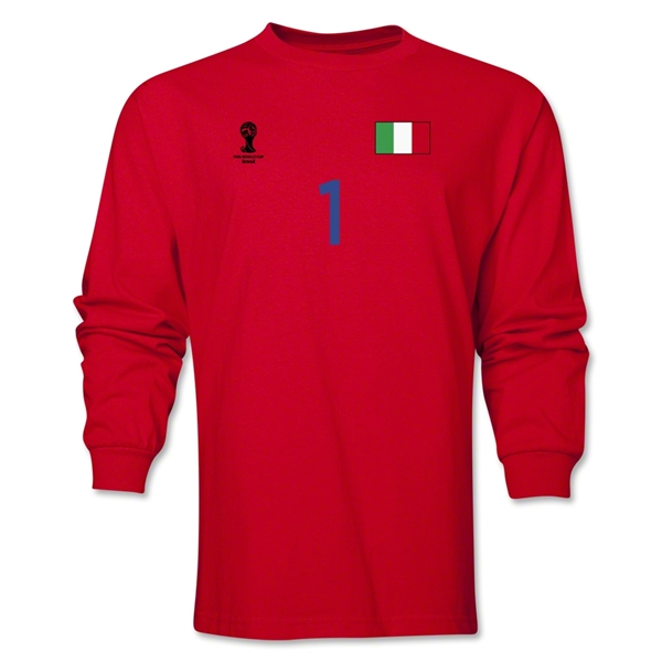 Italy 2014 FIFA World Cup Brazil(TM) Men's LS Number 1 T-Shirt (Red)