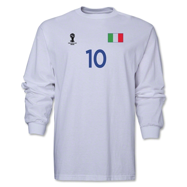 Italy 2014 FIFA World Cup Brazil(TM) Men's LS Number 10 T-Shirt (White)