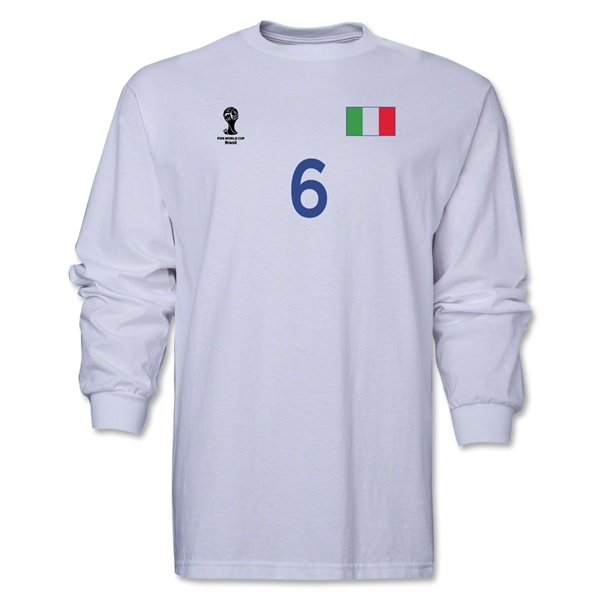 Italy 2014 FIFA World Cup Brazil(TM) Men's LS Number 6 T-Shirt (White)