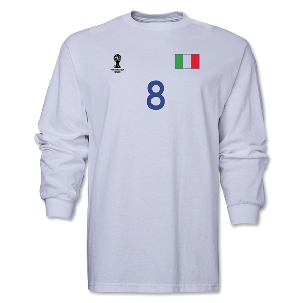 Italy 2014 FIFA World Cup Brazil(TM) Men's LS Number 8 T-Shirt (White)