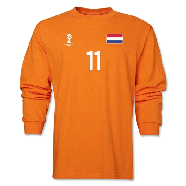 Netherlands 2014 FIFA World Cup Brazil(TM) Men's LS Number 11 T-Shirt (Orange)