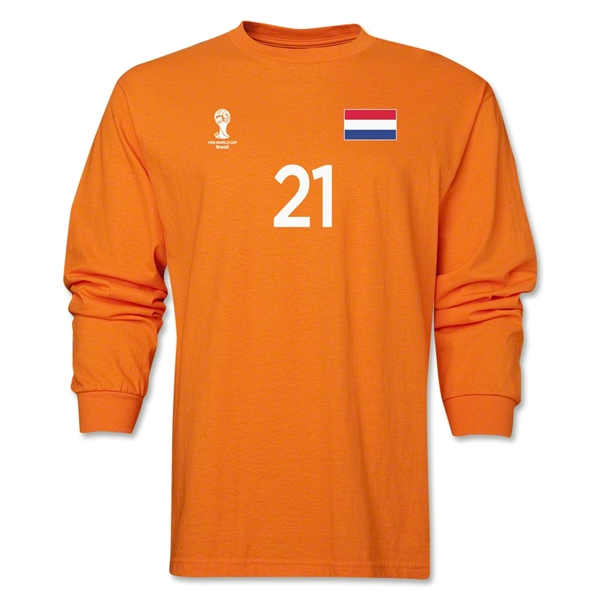 Netherlands 2014 FIFA World Cup Brazil(TM) Men's LS Number 21 T-Shirt (Orange)