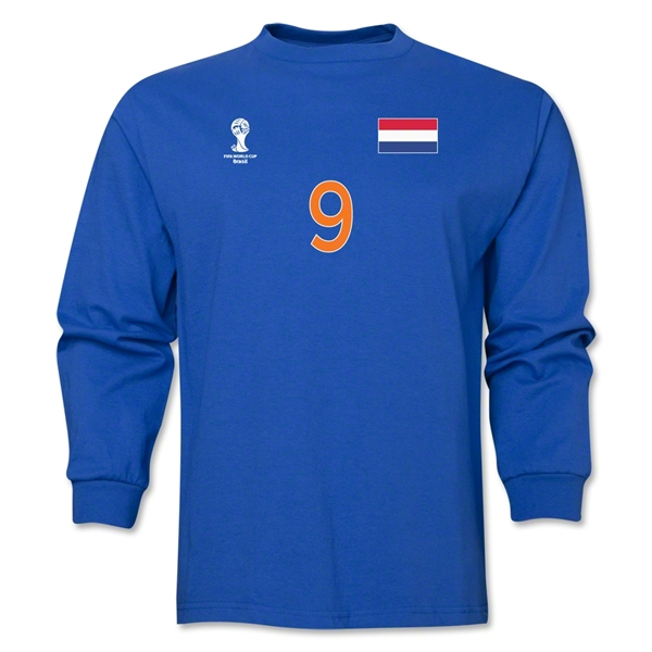 Netherlands 2014 FIFA World Cup Brazil(TM) Men's LS Number 9 T-Shirt (Royal)