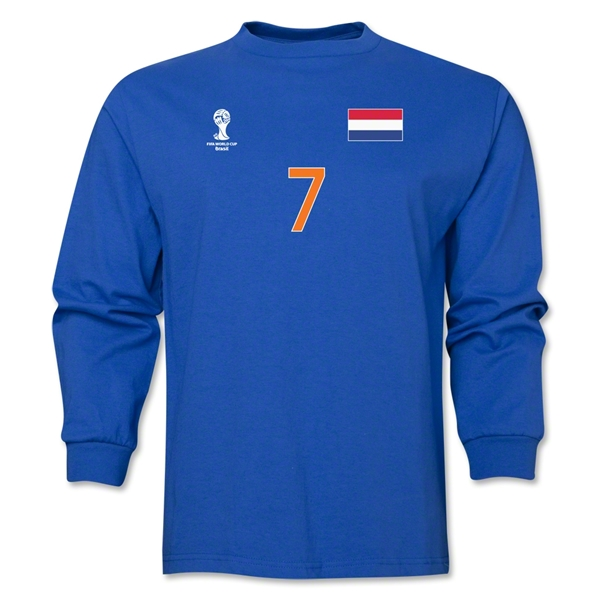Netherlands 2014 FIFA World Cup Brazil(TM) Men's LS Number 7 T-Shirt (Royal)