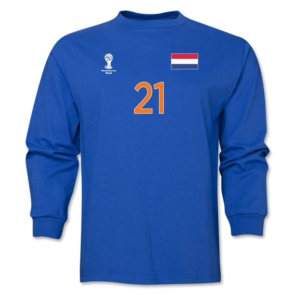 Netherlands 2014 FIFA World Cup Brazil(TM) Men's LS Number 21 T-Shirt (Royal)