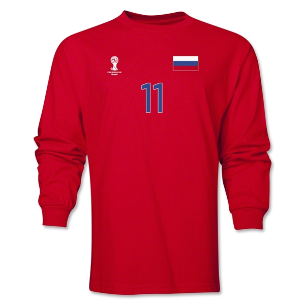 Russia 2014 FIFA World Cup Brazil(TM) Men's LS Number 11 T-Shirt (Red)