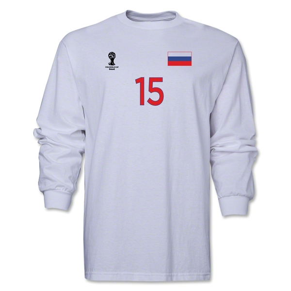 Russia 2014 FIFA World Cup Brazil(TM) Men's LS Number 15 T-Shirt (White)