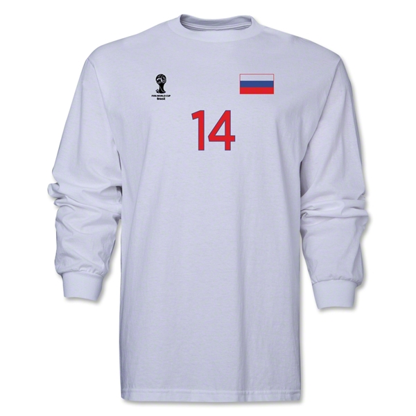 Russia 2014 FIFA World Cup Brazil(TM) Men's LS Number 14 T-Shirt (White)