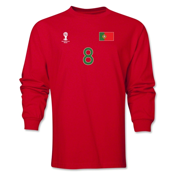 Portugal 2014 FIFA World Cup Brazil(TM) Men's LS Number 8 T-Shirt (Red)