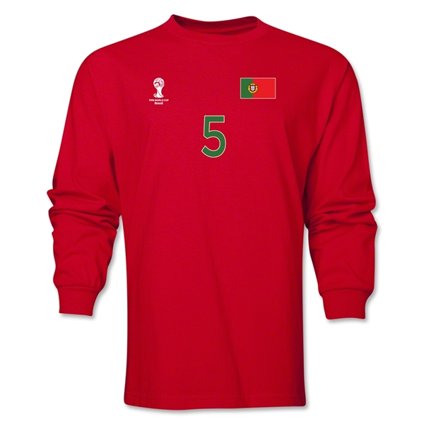 Portugal 2014 FIFA World Cup Brazil(TM) Men's LS Number 5 T-Shirt (Red)