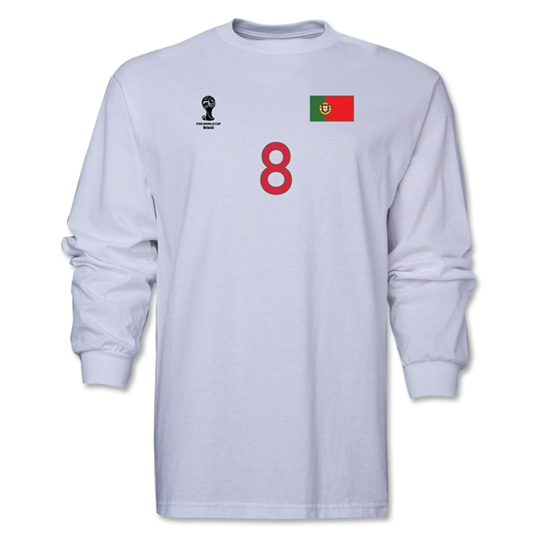 Portugal 2014 FIFA World Cup Brazil(TM) Men's LS Number 8 T-Shirt (White)