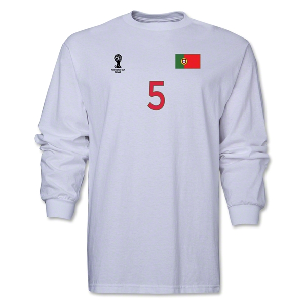 Portugal 2014 FIFA World Cup Brazil(TM) Men's LS Number 5 T-Shirt (White)