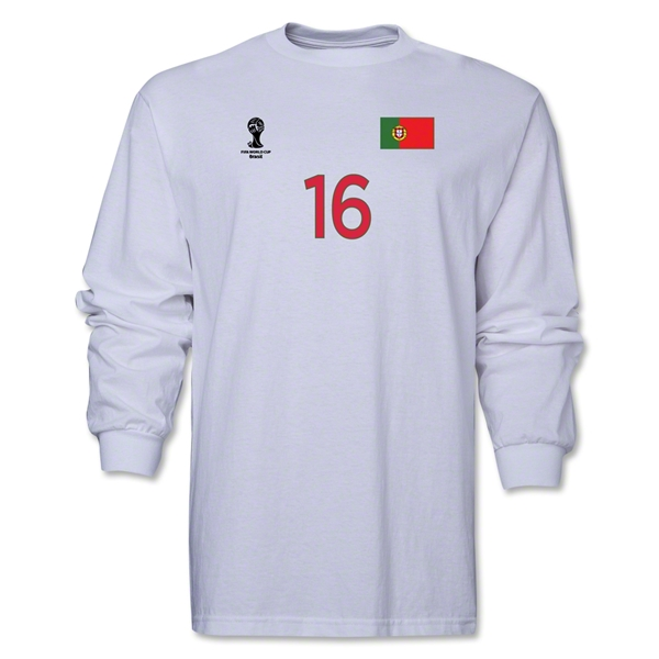 Portugal 2014 FIFA World Cup Brazil(TM) Men's LS Number 16 T-Shirt (White)
