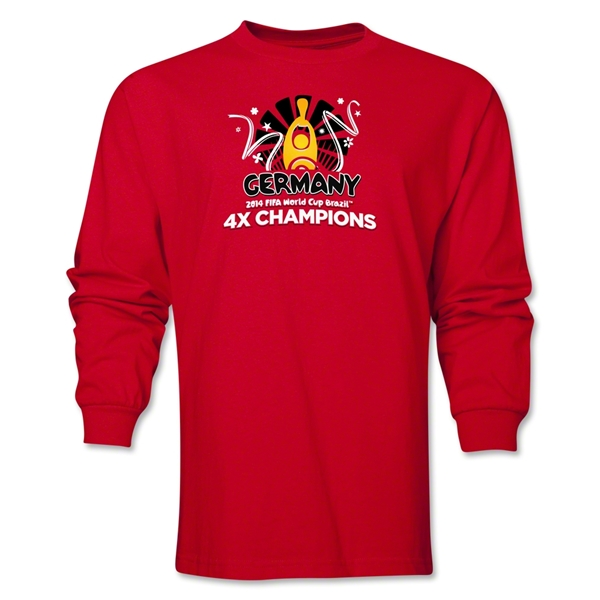 Germany 2014 FIFA World Cup Brazil(TM) Men's LS Champions Official Look Trophy T-Shirt (Red)