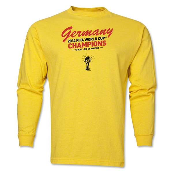 Germany 2014 FIFA World Cup Brazil(TM) Men's LS Champions Script T-Shirt (Yellow)