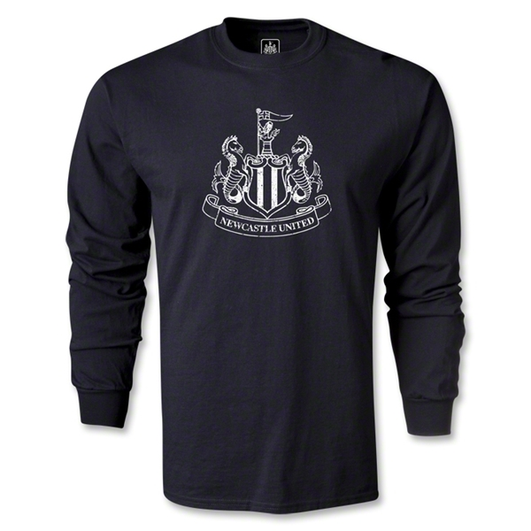 Newcastle United Distressed Crest LS T-Shirt (Black)