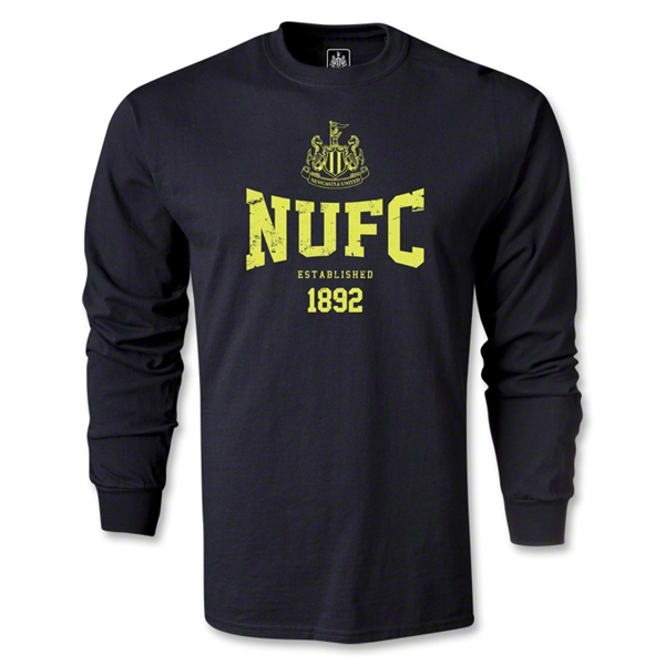 Newcastle United Distressed NUFC LS T-Shirt (Black)