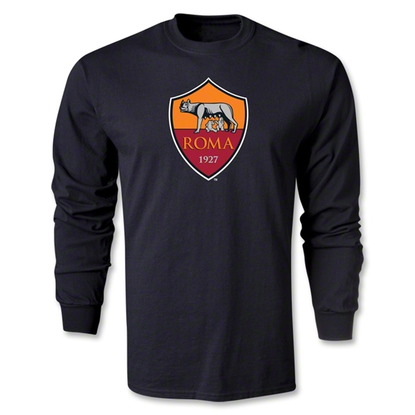 AS Roma Crest LS T-Shirt (Black)