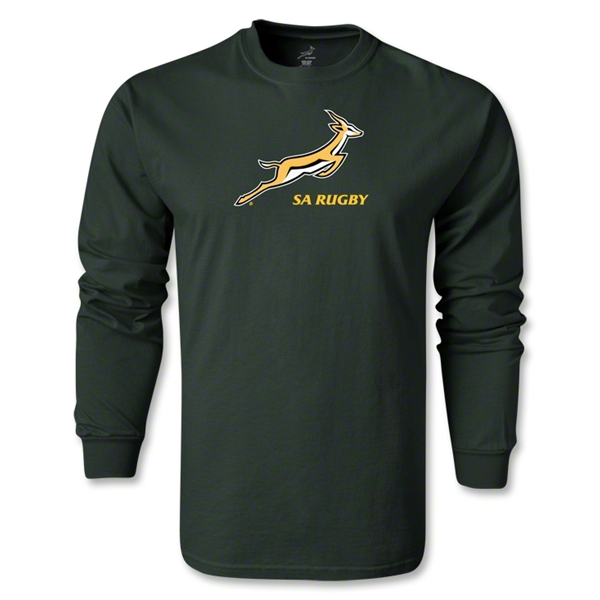 South Africa Springboks Bok Logo LS T-Shirt (Dark Green)