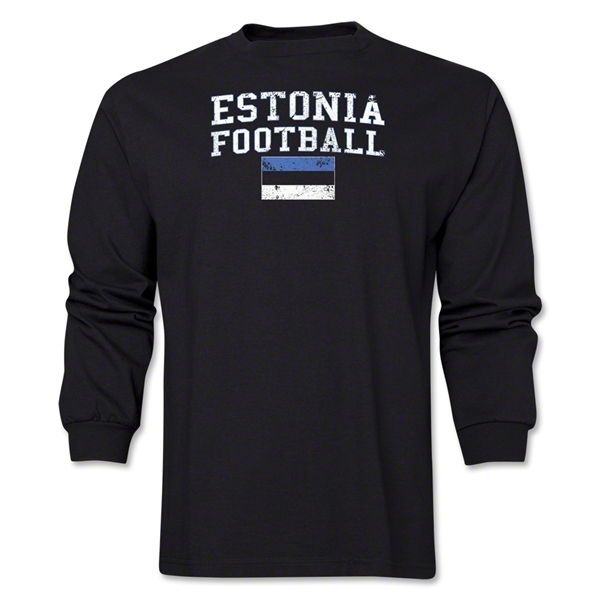 Estonia LS Football T-Shirt (Black)