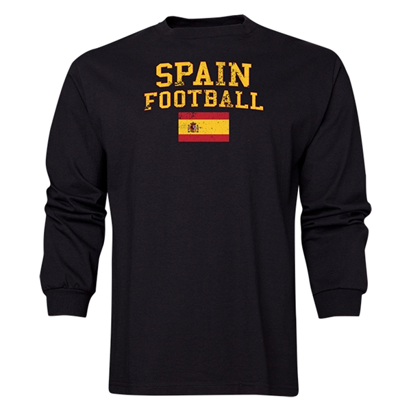 Spain LS Football T-Shirt (Black)