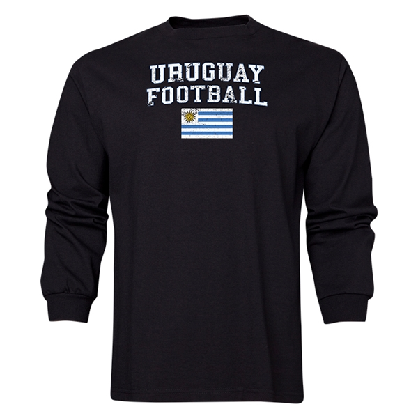Uruguay LS Football T-Shirt (Black)