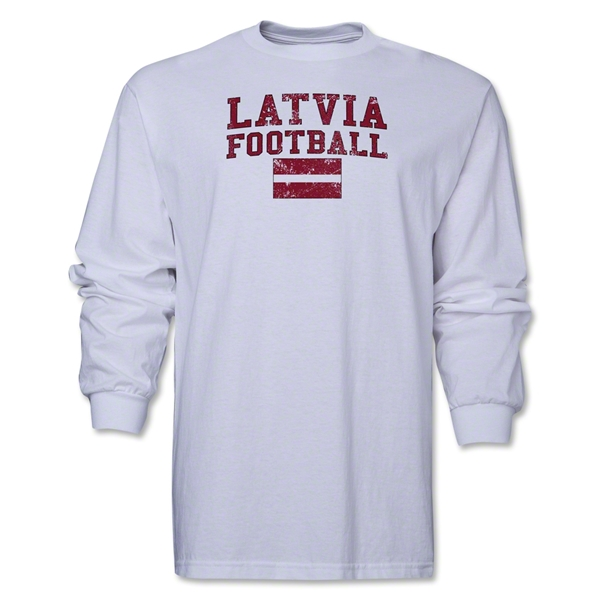 Latvia LS Football T-Shirt (White)