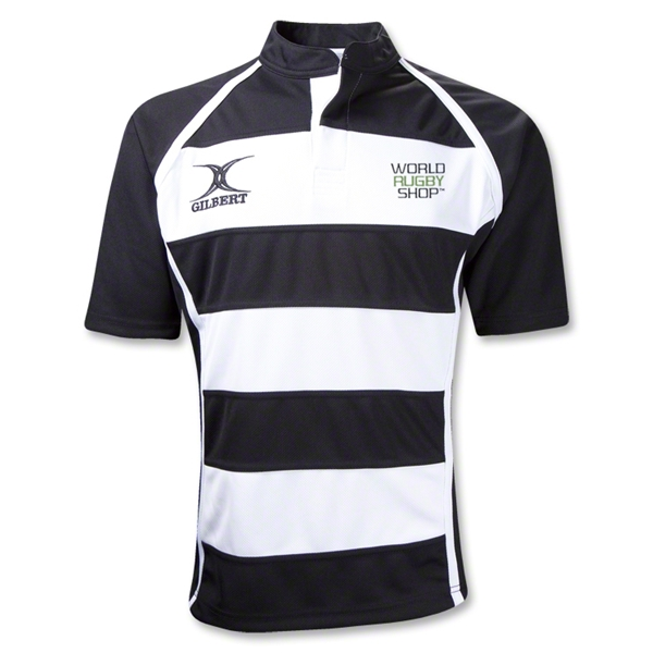 Gilbert World Rugby Shop Xact Hooped Rugby Jersey (Black/White)