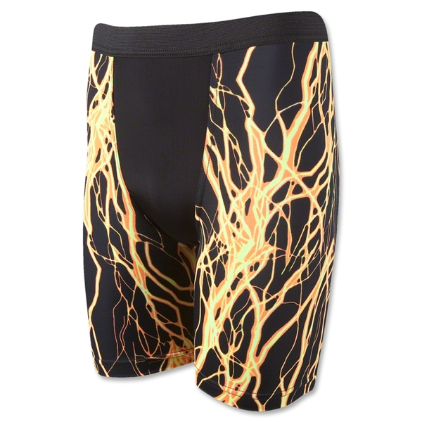 Men's Lightning Patterned Compression Short-7 Inseam (Yl/Bk)