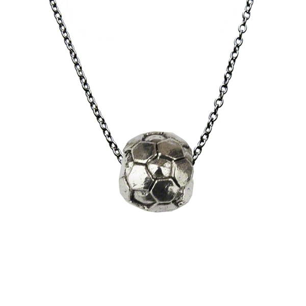 Silver Soccer Ball Necklace