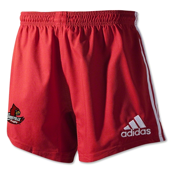 University of Louisville Rugby adidas 3-Stripes Shorts (Red)
