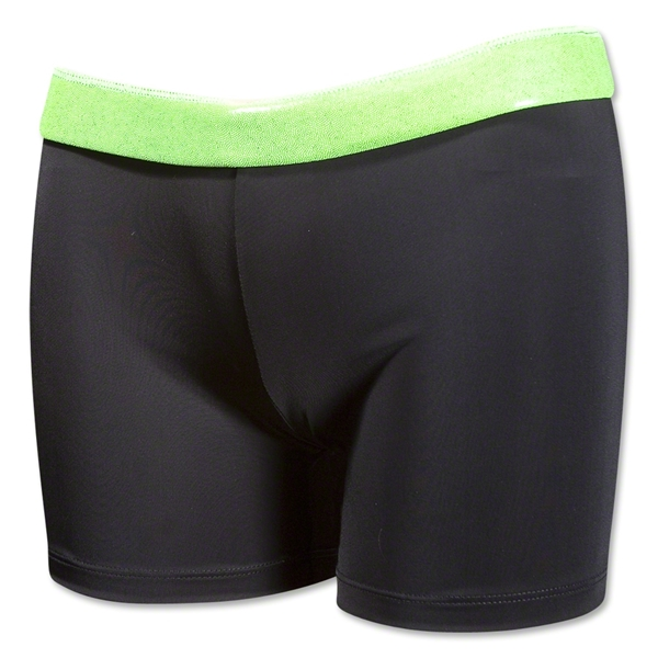 Svforza Women's Short with Metallic Waistband (Green)
